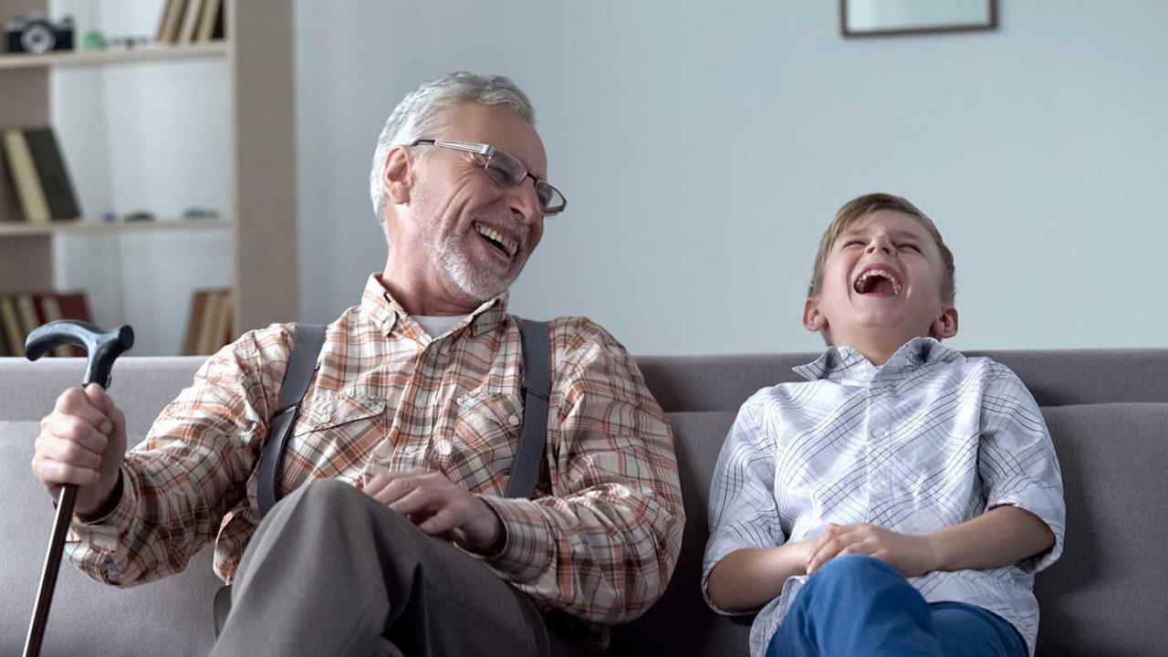 Grandparent with his grandchild