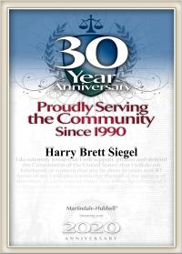 Siegellaw 30 year Super Lawyer Badge