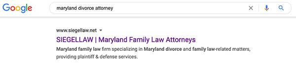 Maryland divorce attorney search result